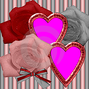 Framework With Roses And Hearts Stock Image - Image: 10359031