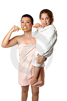 Mother And Daughter Brushing Their Teeth Stock Photos - Image: 10361293