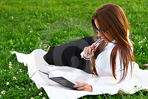 Beautiful Young Woman Studing In Park Royalty Free Stock Photo - Image: 10361695