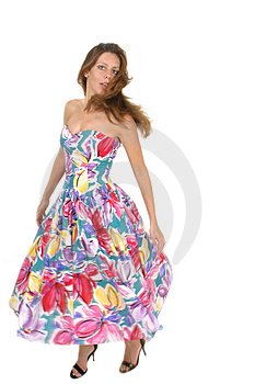 Beautiful Woman Spinning In Colorful Dress 2 Stock Image - Image: 1045211