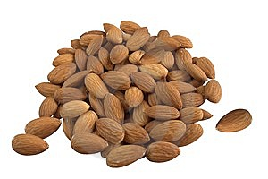 Almond on white Stock Images