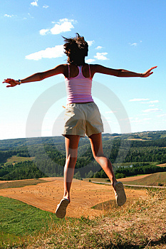 Jump into the country Royalty Free Stock Photo