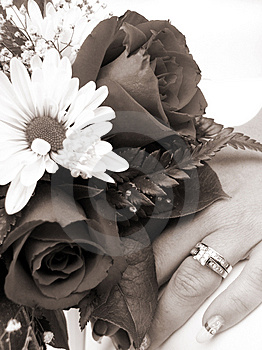 Bride's Wedding Ring Hand And Bouquet Closeup Sepia Stock Images - Image: 1050914
