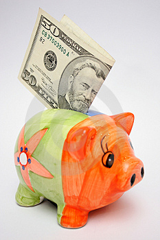 Fifty Dollar And Piggy Stock Photo - Image: 1056400