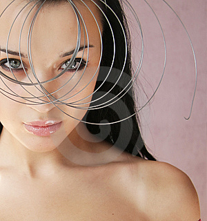 Beautiful girl with exotic haircut and spiral Stock Images