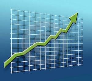 Business grafico freccia su una griglia di puntamento per il successo.