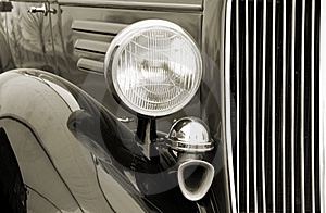 Vintage Car Detail. Sepia Royalty Free Stock Image - Image: 10548016