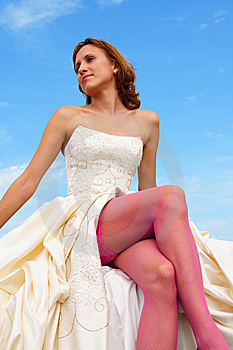 Woman in a wedding dress Stock Photography