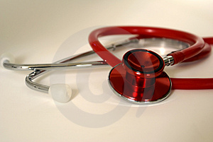 Red Stethoscope Royalty Free Stock Image