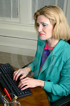 Beautiful Business Woman Typing On Computer Royalty Free Stock Images - Image: 1079699