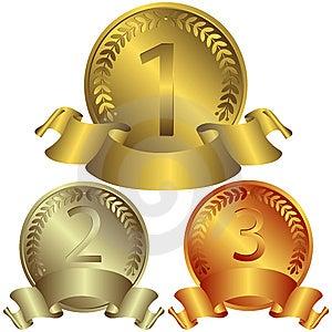 Oro, argento e medaglie di bronzo (vettore) Fotografia Stock Libera da Diritti