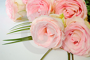 Bouquet Of Tender Pink Roses Lying Stock Photography - Image: 10804802