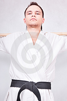 Black belt fighter Royalty Free Stock Photography