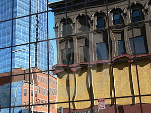 Reflections Of Old In New Royalty Free Stock Images - Image: 1090129