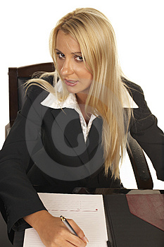 Beautiful Blonde Signing Contract Royalty Free Stock Photos - Image: 1090608