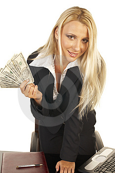 Beautiful Blonde Holding Money Royalty Free Stock Image