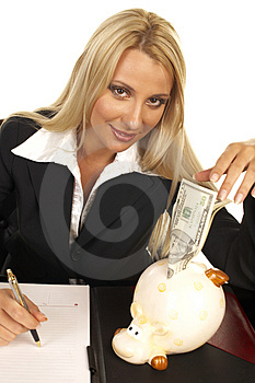 Beautiful Blonde Signing Contract Stock Photos - Image: 1091213