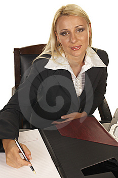 Beautiful Blonde Signing Contract Stock Photos - Image: 1091673