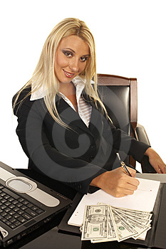 Beautiful Blonde Signing Contract Royalty Free Stock Image - Image: 1091946