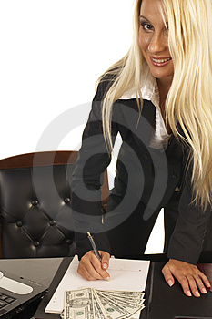 Beautiful Blonde Signing Contract Stock Photography - Image: 1092472