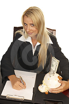 Beautiful Blonde Signing Contract Royalty Free Stock Images - Image: 1092649