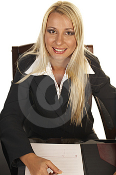 Beautiful Blonde Signing Contract Royalty Free Stock Photo - Image: 1092725