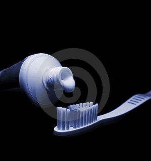 Toothbrush and toothpaste. Stock Photos