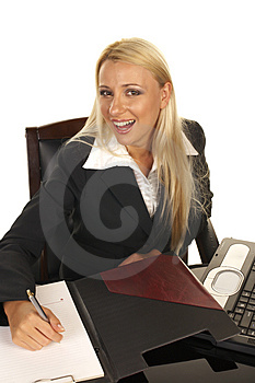 Beautiful Blonde Signing Contract Royalty Free Stock Photos - Image: 1093598