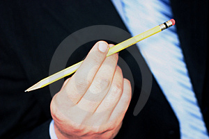 Business man with pencil Stock Photo