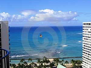 Waikiki Sailboat Free Stock Photo