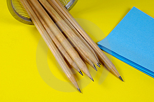 Pencils And Postits Free Stock Photography