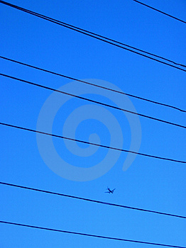 Plane on a blue sky Royalty Free Stock Photo