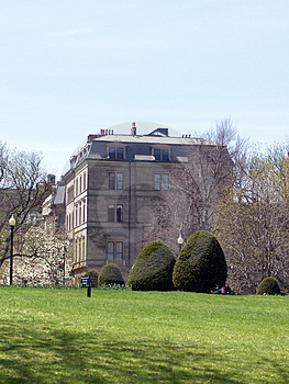 View Of Stately Old Building From Public Gardens Stock Photo