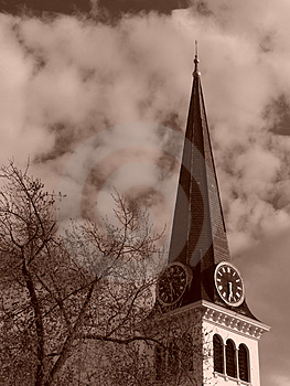 Steeple Of Old New England Church Stock Photos