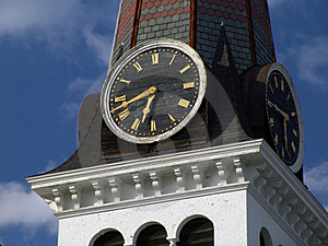 Clock On Steeple Of Old New England Church Free Stock Photo