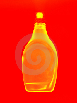 Golden bottle abstract Stock Photos