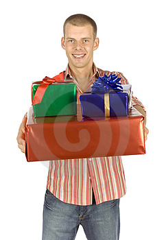 Father with gifts Stock Photography