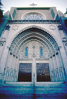 Low Angle Perspective Of Church Entrance Royalty Free Stock Image - Image: 1111666