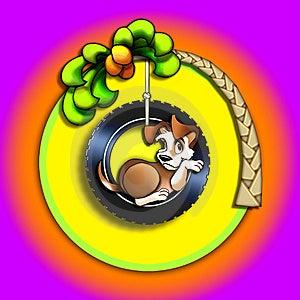 Chiot Dans Une Oscillation De Pneu Images stock - Image: 1113064