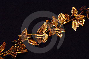 Gold leaves on chain