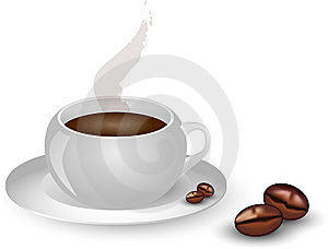 Cup hot coffee black white brown Royalty Free Stock Photo