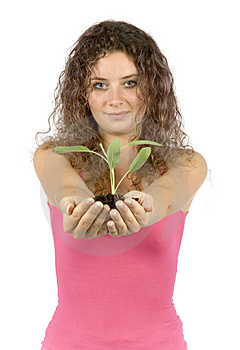 Woman With Plant Royalty Free Stock Image - Image: 1134386