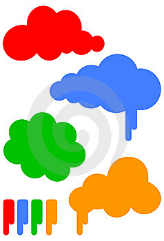 Cartoon cloud vector illustration set Free Stock Images