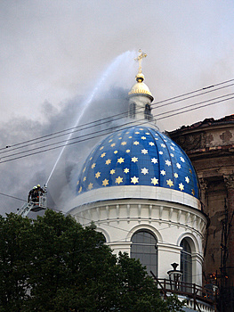 Trinity Cathedral In Saint-Petersburg On Fire Stock Images - Image: 1145544