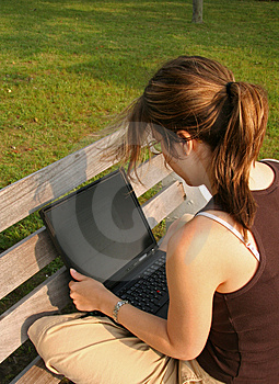 Student working on laptop Royalty Free Stock Photography