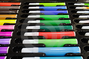 Tray Of Colored Pens Royalty Free Stock Photo - Image: 1166135