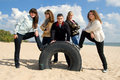 Group of five teenagers at the seaside Royalty Free Stock Images