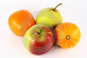 Four bright fruit Stock Images