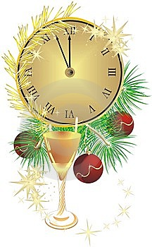 Glass, Clock And Fur-tree With Christmas Balls Stock Images - Image: 11665484