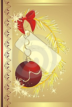 Bow With Sticker And Christmas Ball. Card Stock Images - Image: 11665534